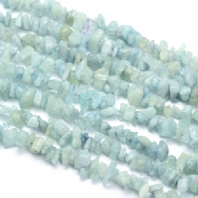 32 inch 5-8mm Aquamarine Chip Beads